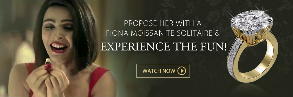 Propose her with a Fiona Moissanite Solitaire & Experience the fun!